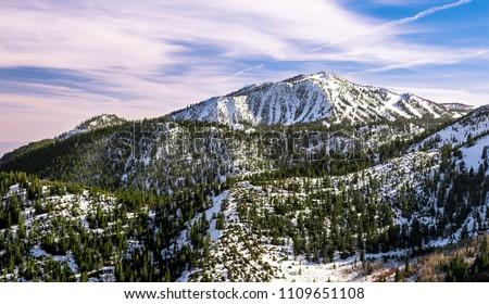 the north face of slide mountain at Mount Rose Ski Tahoe Resort near Lake Tahoe, Nevada, USA. Stock photo ©