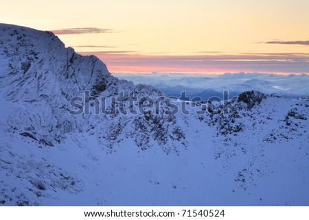 The Northern corries of the Cairngorm mountains in the Scottish highlands in Winter.