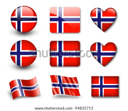 The Norwegian flag - set of icons and flags. glossy and matte on a white background.
