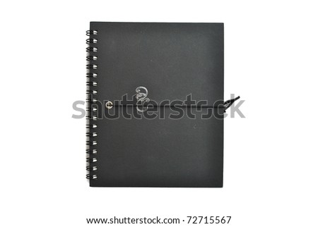 The notebook is on the white background
