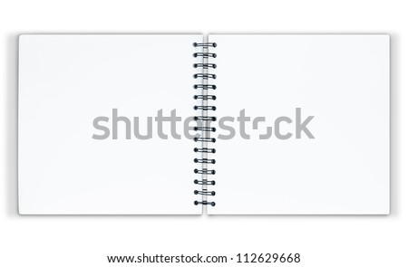 The notebook is on white background with clipping path