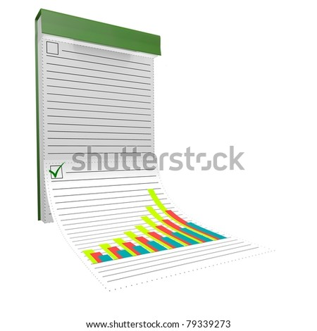 The notebook with the diagram is isolated on a white background.