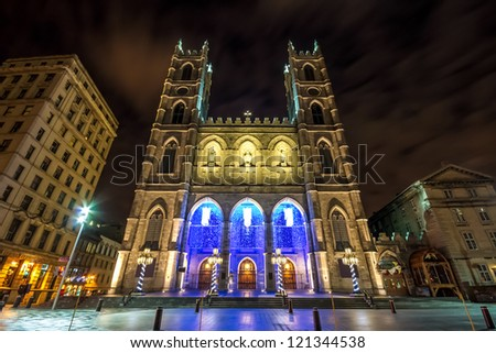 The Notre-Dame Basilica of Montreal with Christmas Decoration (With a little picture noise in the sky)