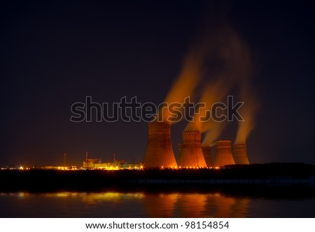 The nuclear power generation plant at night
