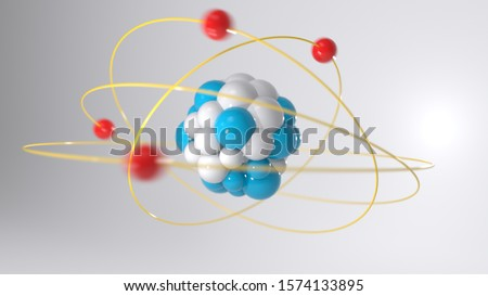 The nucleus of an atom, an atom and its nucleus, electrons rotate, protons, elementary particles, neutrons, electron, atomic energy