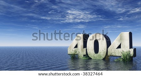 the number 404 at the ocean under cloudy blue sky - 3d illustration