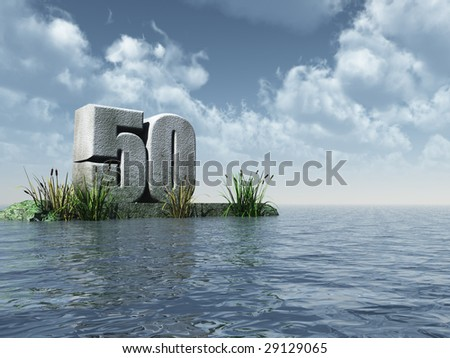 the number fifty - 50 -  at the ocean - 3d illustration