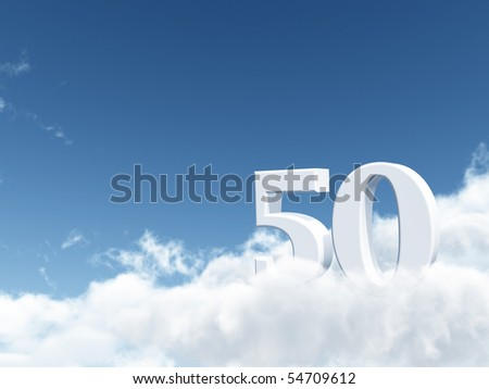 the number fifty - 50 - on clouds - 3d illustration