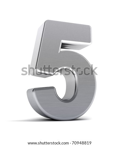 The number five as a brushed chrome object over white - stock photo