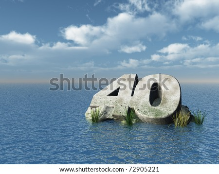 the number forty at the ocean - 3d illustration