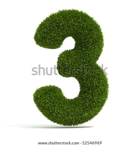 The Number 3 - Grass - stock photo