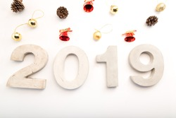 The number of mortar, 2019 Happy New Year. And decorations on New Year's Day.