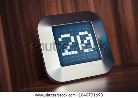 The Number 20 On A Digital Calendar, Thermostat Or Timer #1040791693