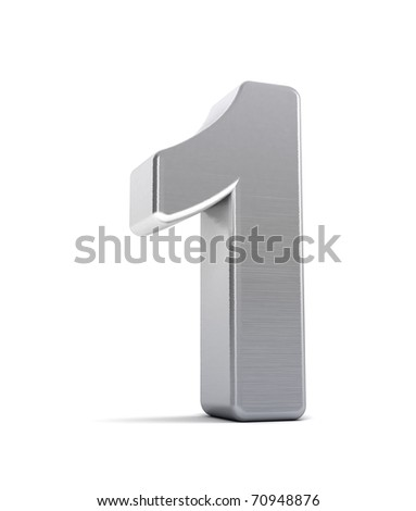 The number one as a brushed chrome object over white