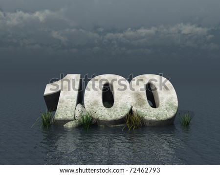 the number one hundred at the ocean - 3d illustration