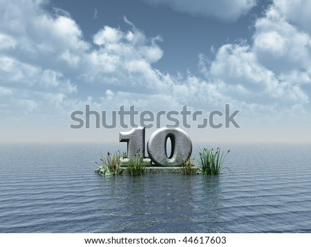 the number ten at the ocean - 3d illustration