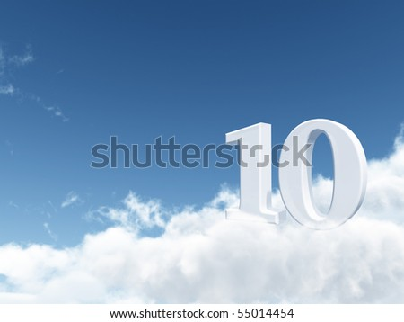 the number ten - 10 - on clouds - 3d illustration