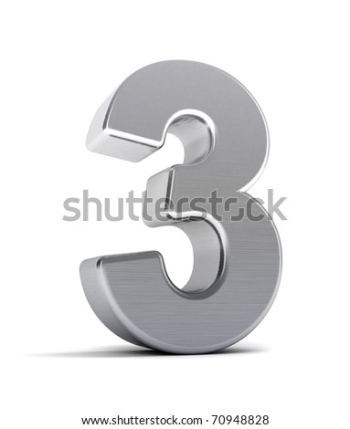 The number three as a brushed chrome object over white