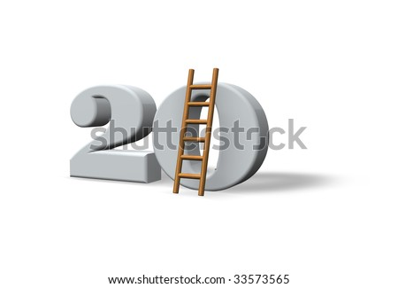 the number twenty - 20 -  and a ladder on white background - 3d illustration