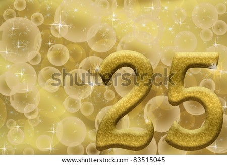 The number twenty-five 25 in gold with golden bubble background,  25th anniversary