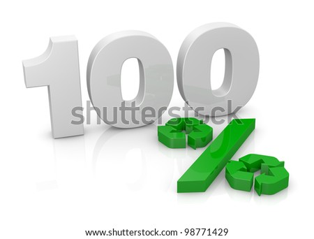 the number 100 with the percent symbol made with two recycling symbols (3d render)