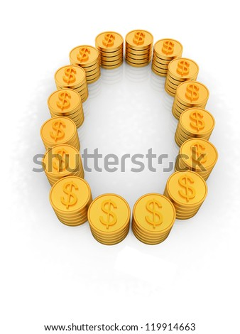 "the number ""zero"" of gold coins with dollar sign"