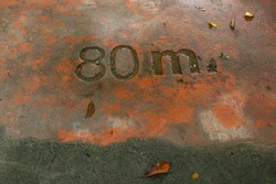 the numbers on the dirty concrete floor. No. 80 m.