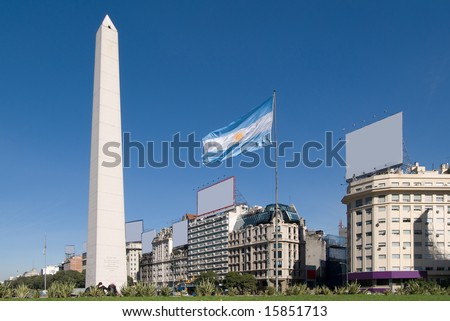 The Obelisk a major touristic destination in Buenos Aires, Argentina