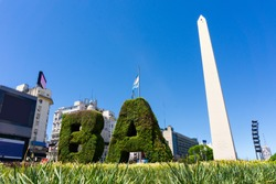 The obelisk the landmark of Buenos Aires, Argentina. It is located in the Plaza de la República on Avenida 9 de Julio