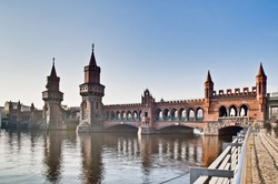 The Oberbaumbruke bridge connects the districts of Kreuzberg and Friedrichshain over the river Spree at Berlin, Germany