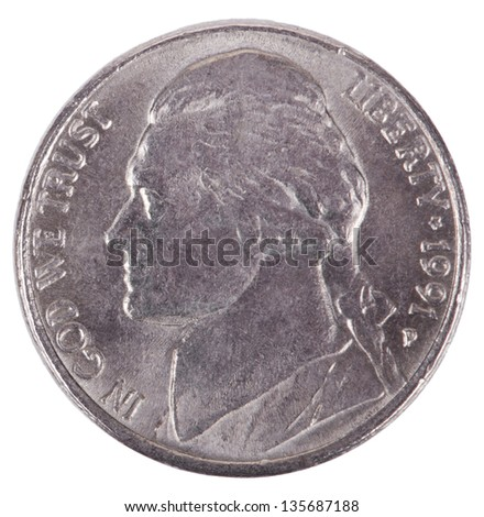 The obverse side of a USA 5 cents (nickel) coin, depicting president's Thomas Jefferson portrait. Isolated on white background.