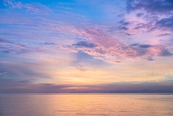 The ocean and vanilla sky at a private beach in Trat, Thailand.