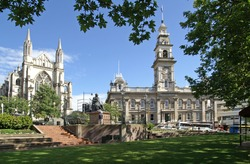 The Octagon, center of Dunedin, New Zealand, with St. Paul's Cathedral to the left and Municipal Chambers more to the right