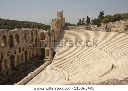 The Odeum theater, at the bottom of the sacred rock of the Acropolis in Athens, on South side, was constructed in the 2nd century AD (160-174)
