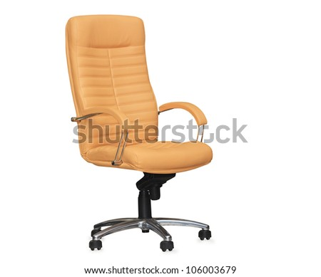The office chair from beige leather. Isolated