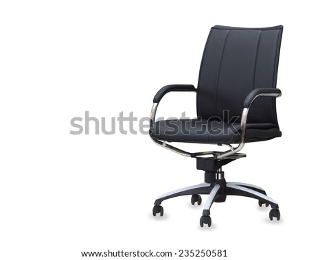 The office chair from black leather. Isolated #235250581
