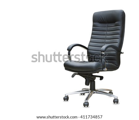 The office chair from black leather. Isolated #411734857
