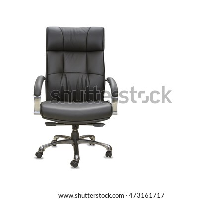 The office chair from black leather. Isolated #473161717