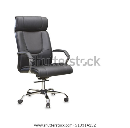 The office chair from black leather. Isolated #510314152