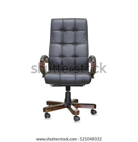 The office chair from black leather. Isolated #521048332