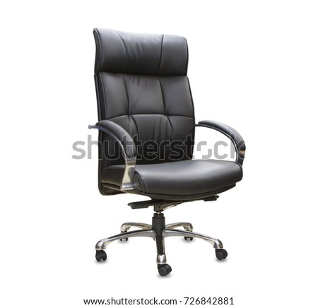 The office chair from black leather. Isolated #726842881