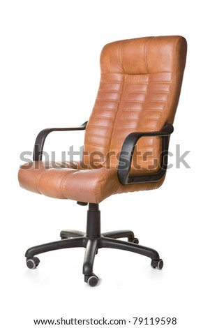 The office chair from brown imitation leather. Isolated