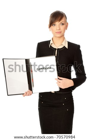 The office worker reviewing a certificate of new workers