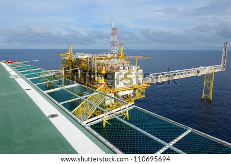 The oil rig in the gulf of Thailand.