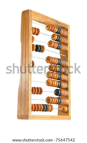 The old abacus isolated on a white background