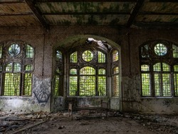 The old abandoned room of a building, Lost Place .