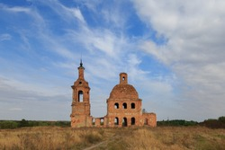 The old abandoned temple of brick located in the field, the tract of Zhukovo, Stary Oskol, Belgorod region, Russia.