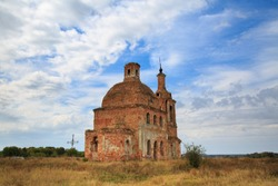 The old abandoned temple of brick located in the field, the tract of Zhukovo, Stry Oskol, Belgorod region, Russia.