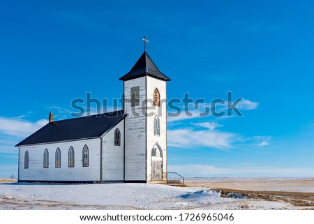 The old and abandoned St. Elizabeth Mission Roman Catholic Church outside Gravelbourg, SK, Canada