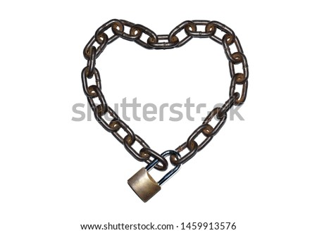The old and durable large iron chains are placed in a heart shape and are securely locked on white background. #1459913576